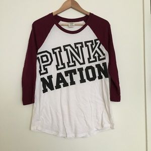 Pink Nation burgundy baseball tee